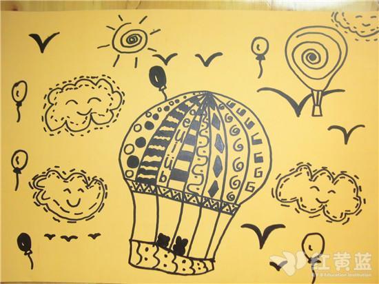 线描画—热气球