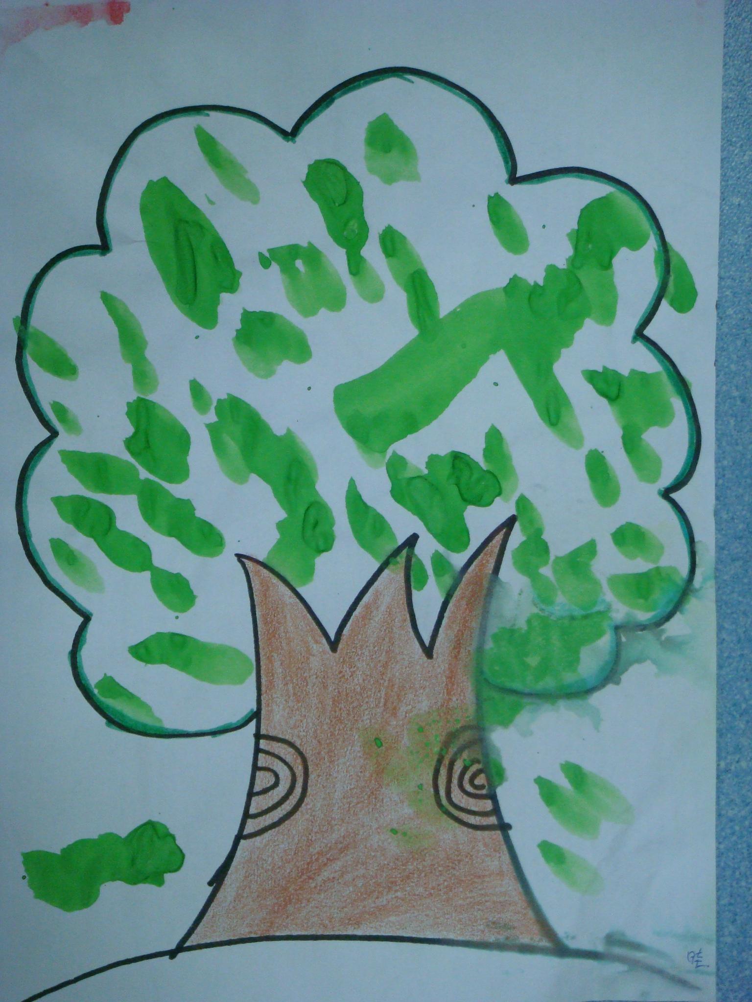 手指印画 大树