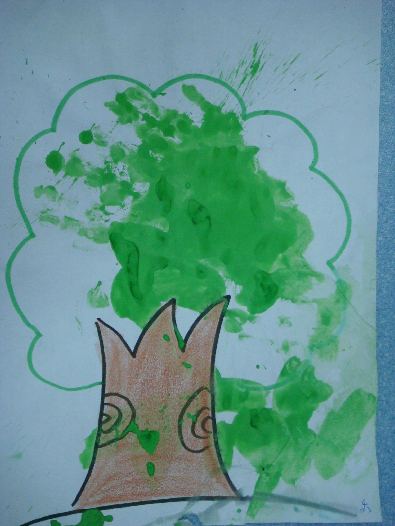 手指印画-大树图片
