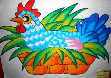 儿童公鸡绘画作品