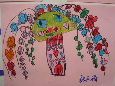作品名称:蜡笔画——神奇的树-蜡笔画 神奇的树