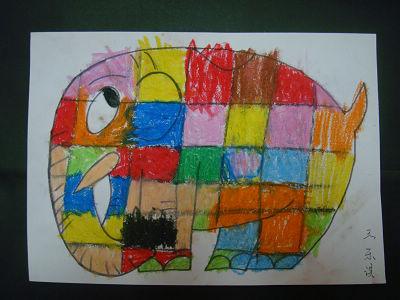 小学生动物画大象