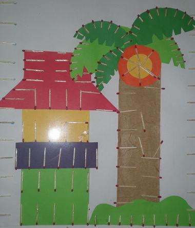 手工作品:房子和树