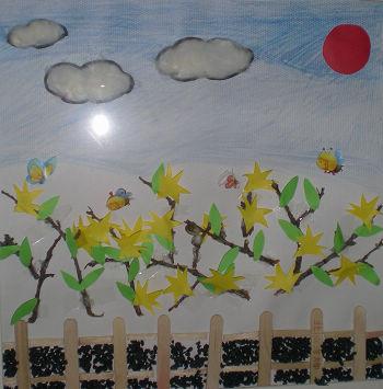 儿童画春天来了的画; 漂亮的迎春花