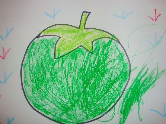 托班涂色:绿苹果