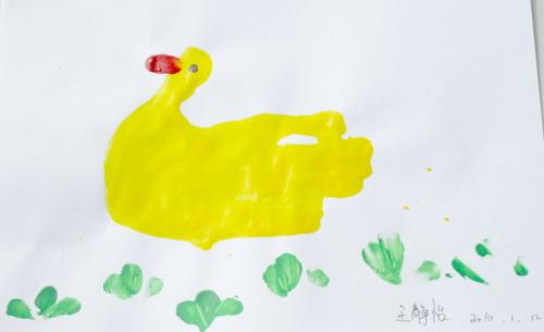 手印画-可爱的小鸭图片