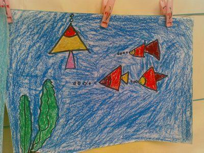 图画 , 大海和小鱼