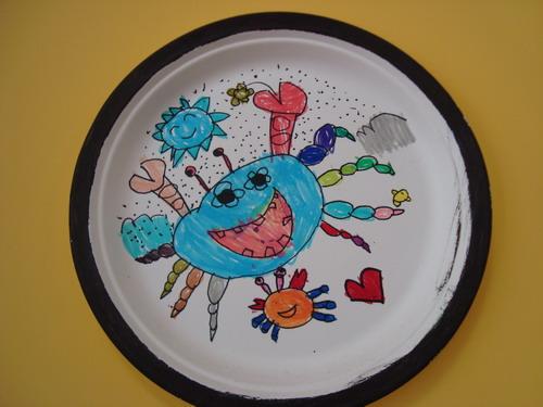 纸盘画螃蟹