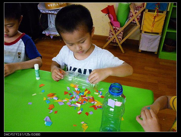 手工---装饰瓶子 _ 红黄蓝|早教|早教中心