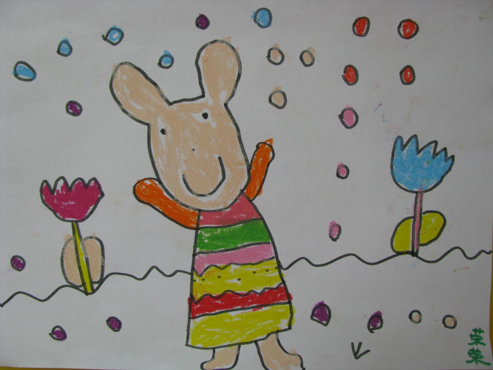 快乐的小白兔 简笔画 可爱的小兔子