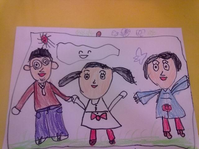 三人全家福的简笔画图片