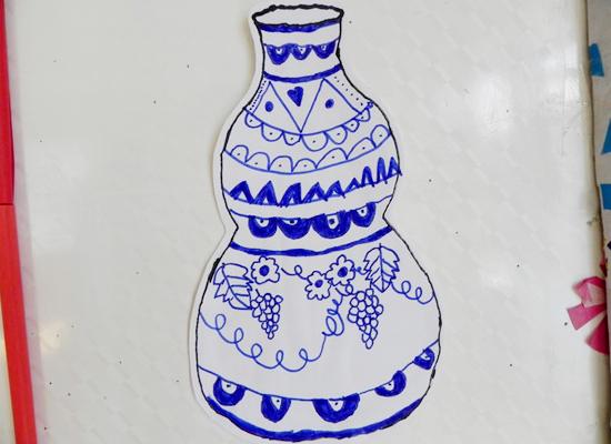 儿童青花瓷花瓶简笔画-小帆船 红黄蓝 早教 早教中心