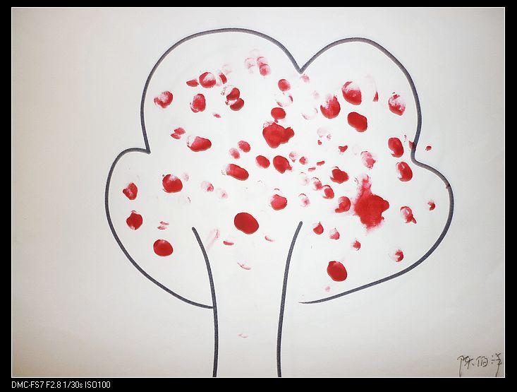 手指画:苹果树
