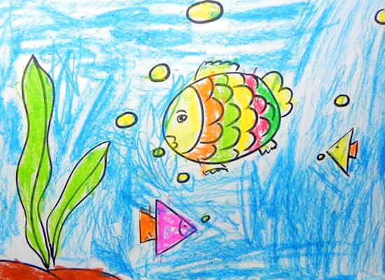 可爱小鱼儿童画