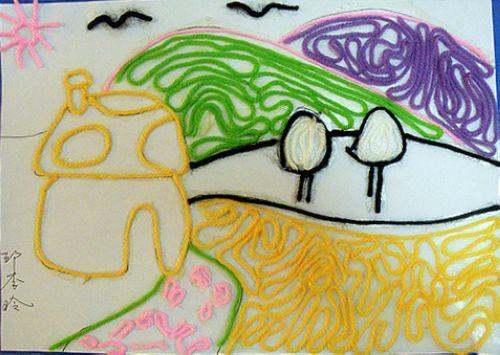 家乡美儿童绘画