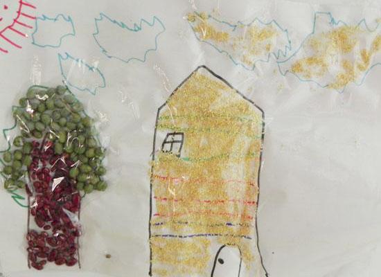 豆子粘贴画 _ 红黄蓝|早教|早教中心