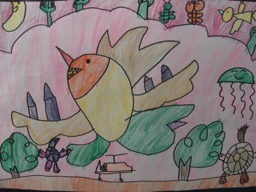 飞行动物儿童画