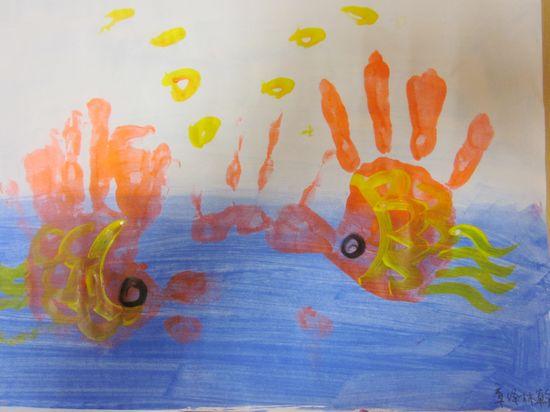 手掌印画:海底世界图片