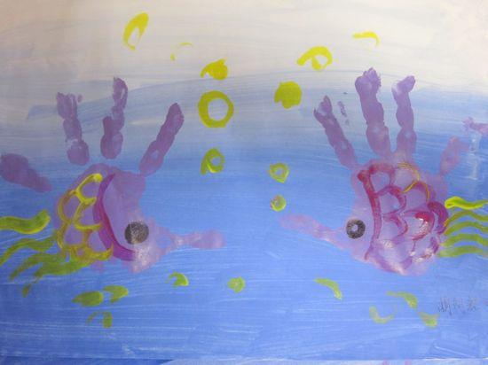 手掌印画:海底世界