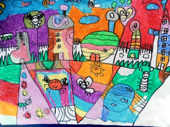 我设计的花房子 - 儿童蜡笔画