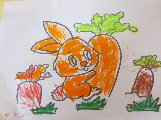 小兔拔萝卜;; 兔子拔萝卜简笔画;
