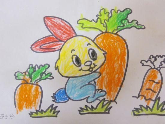 小兔子吃月饼儿童画