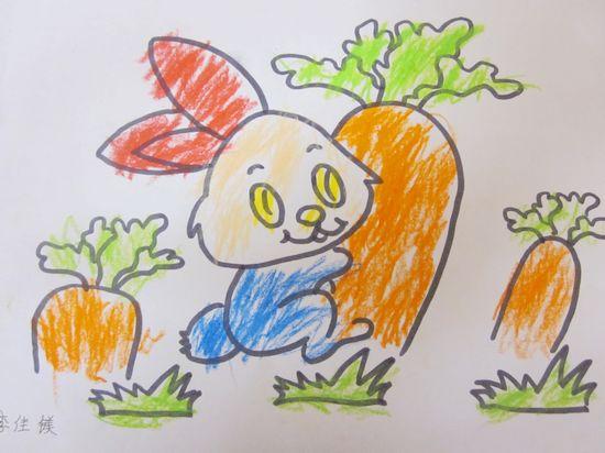 兔子拔萝卜儿童画