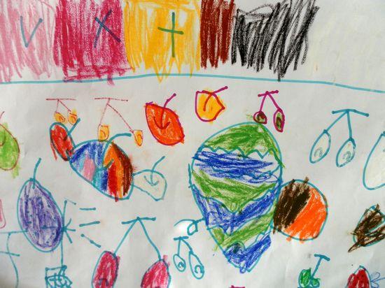儿童画水果展板