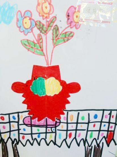 花瓶儿童画手工