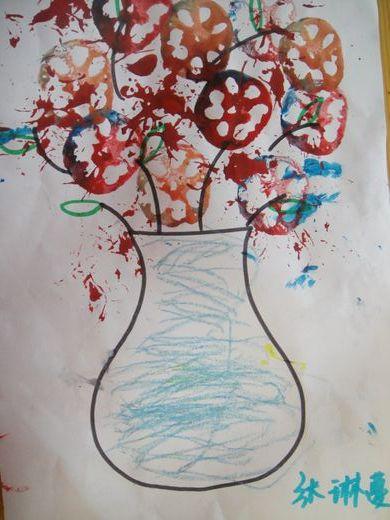 瓶子花纹儿童画