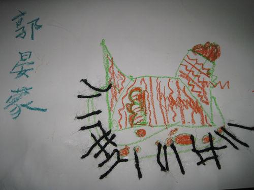 这是郭晏蒙小朋友的手工粘贴画