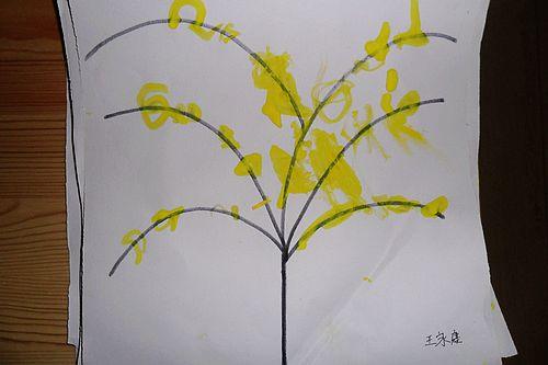 棉签画---迎春花