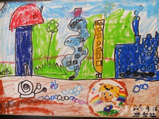 彩虹上的房子儿童画