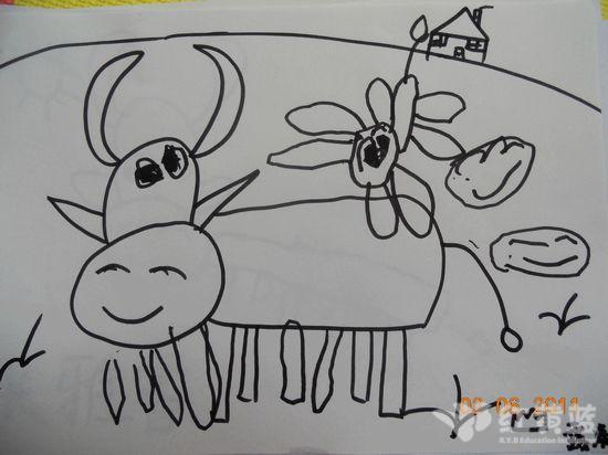 可爱小牛简笔画侧面