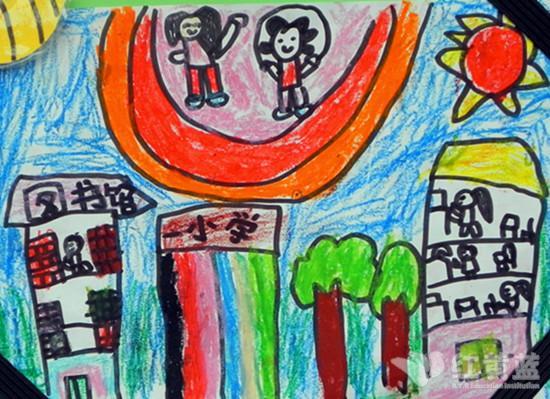 上小学儿童画; 我上小学啦绘画;