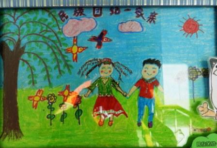 新疆少数民族儿童画
