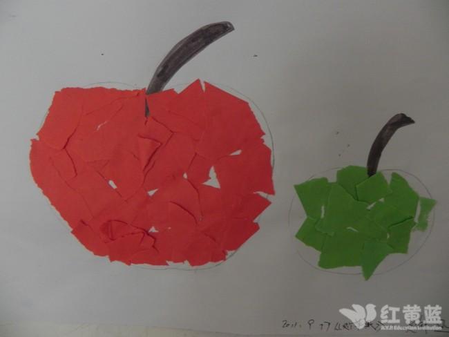 撕纸粘贴苹果