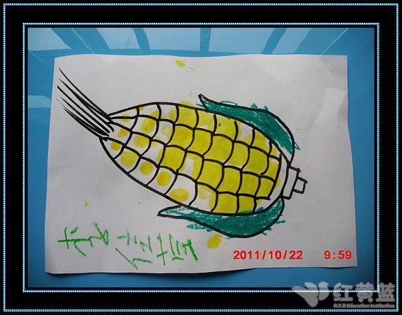 玉米儿童画图片