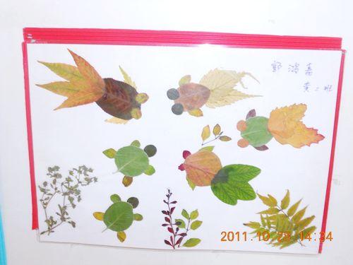 漂亮的树叶画——金鱼