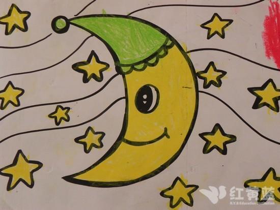儿童画 月亮图片