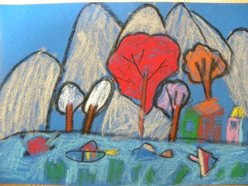 幼儿简单山水绘画步骤图