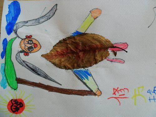 树叶粘贴画图片