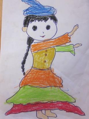少数民族儿童画图片
