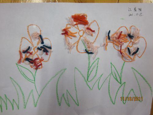 幼儿园毛线粘贴画 幼儿毛线粘贴画 风景毛线粘贴画图片 毛