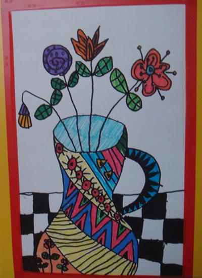 花瓶画图片大全 线描花瓶画图片大全 儿童花瓶画图片大全图片