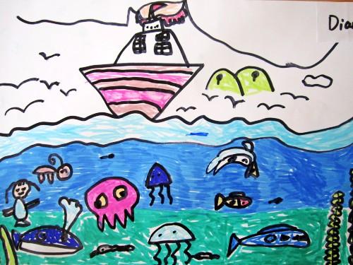 大海灯塔儿童画