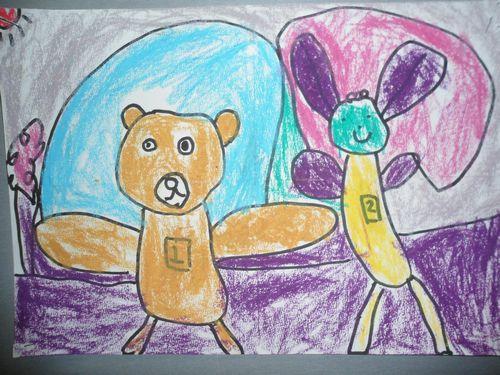 两只小熊跳绳!