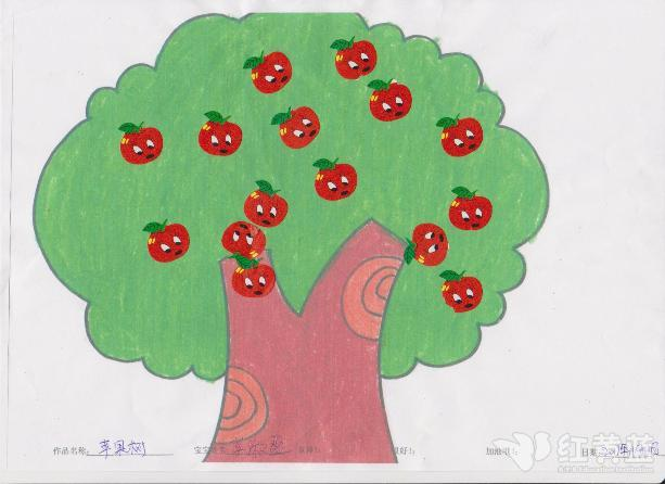 宝宝作品-苹果树 _ 红黄蓝|早教|早教中心