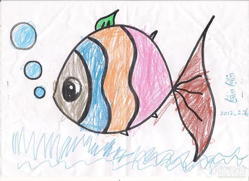 小鱼吐泡泡简笔画图片;