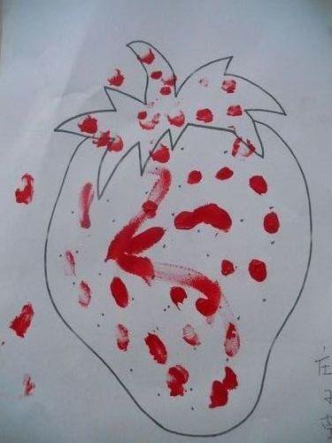 呵呵这是我们用小手指沾上红色水粉用点画的.